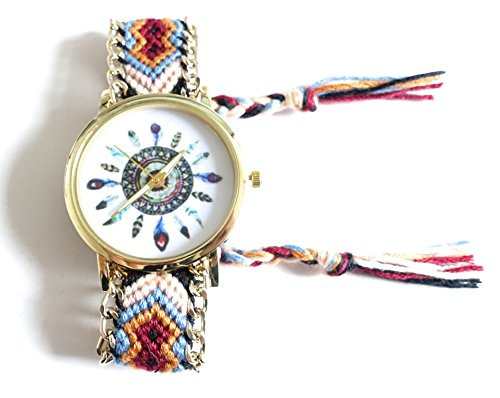 4dc428b135f951 636 – Armbanduhr brasilianisches braun – Federn, Hippie Bohème –  goldfarbener Kette