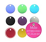 Quality 22mm Round Anodised Pet Id Tag & Ring, Dog, Cat, Engraved Free and P&P S