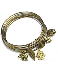 Oxidised Gold 6 Bangles Set With Charms
