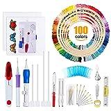 Ricamo Punto Croce Kit Set Completo - 5Pcs Telaio Circolare Di Bambù, 100 Colori Fili, Ago Magico Utensile per Punzonatura Aghi Punch Needle, 14 Conte Tela Aida 2 Pezzi