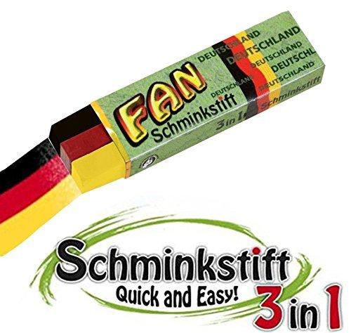 KarnevalsTeufel 3 in 1 Schminkstift FAN, Fan-Stift, Deutschland Flagge, Fanartikel, 1 Stück (In 3 Einem Stift)