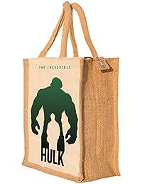 Nisol Hulk Classic Printed Lunch Bag | Tote | Hand Bag | Travel Bag | Gift Bag | Jute Bag
