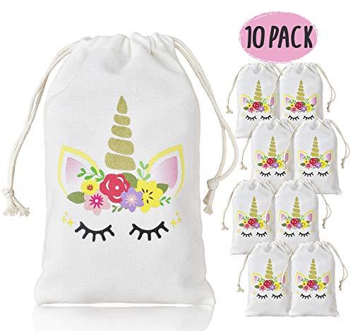 KREATWOW Einhorn Party Favor Taschen für Kinder Geburtstagsparty Dekoration 10 Pack 5 × 8