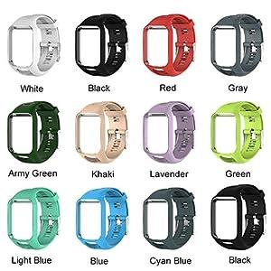 Lamptti-Uhrenarmband für Tomtom Runner 2/3-Serie – Spark GPS Adventurer-Uhr Silicagel Ersatz-Runner-Armbanduhrarmband 25 cm lang für Damen Herren
