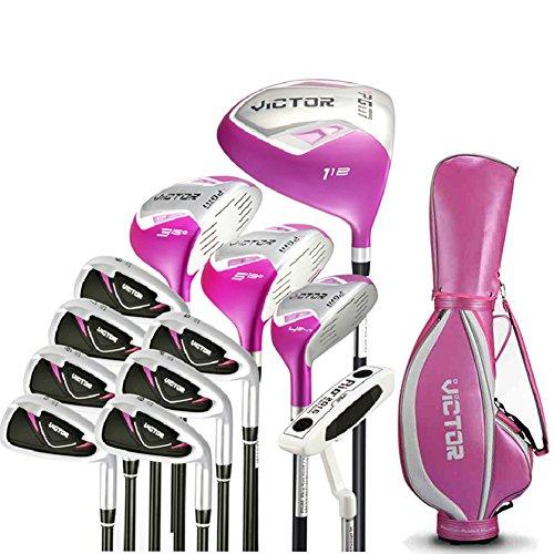 PGM Victor Damen Golf Club komplett Paket Golf-Set, Standard, 12pcs mit Clubs Golf Tragetasche, 12 clubs with pink golf bag -
