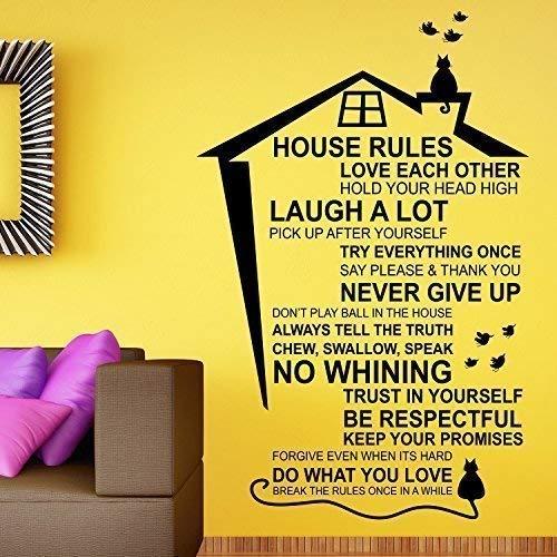 Walplus Entfernbarer Selbstklebend Wand Sticker House Rules Wandbild Kunst Zuhause Wohnzimmer Küche Dekor Restaurant Café Hotel Dekoration Cafe Küche Dekor