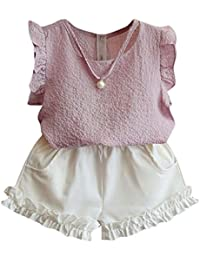FeiliandaJJ Girls Clothes Set, Baby Kids Summer Cute Ruffle Sleeveless T-Shirt Tops Shorts Pants Outfits For 2 3 4 5 6 7 Years
