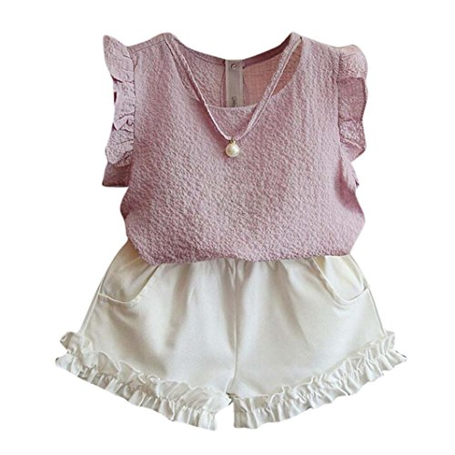 FeiliandaJJ Girls Clothes Set, Baby Kids Summer Cute Ruffle Sleeveless T-Shirt Tops Shorts Pants Outfits For 2 3 4 5 6 7 Years (Pink, 4-5 Years)