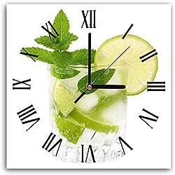 Feeby, Wanduhr, Mehrfarbige Deco Panel Bild mit Uhr, 30x30 cm, Minze, GETRÄNK, Glas, BLÄTTER, GRÜN