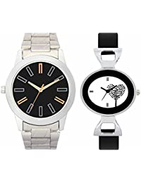 SVM VL01VT27 New Couple Combo Designer Stylish Leather & Plastic Belt Analog Watch For Men & Women