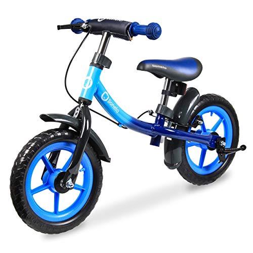 Lionelo Dan Plus Laufrad Kinder Fahrrad ab 2 Jahre für Junge Mädchen Balance Bike aus Stahl Kinderlaufrad mit Pedal Bremse Kotflugel Kinderlaufrad (Blau)