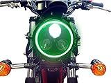 Black 3 Eye LED Motorbike Headlight with Green LED Angel Eye Ring