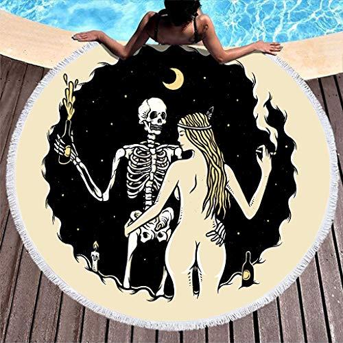 Ethnisch Skelett Mädchen Nacht Party Malerei Druck Runde Strandtüch Mandala Schädel Nacktes Mädchen Mond Kunstwerk Stranddecke Hippie Zigeuner Sommer Franse Strandtüch white 150cm