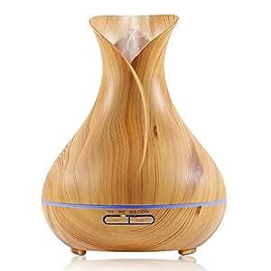 Euph Diffuseur d'Huiles Essentielles Ultrasonique 400ml Humidificateur en Imitation Bois avec LED Couleurs Changeantes pour Maison, Bureau, Salle de Conférence, Yoga, Spa