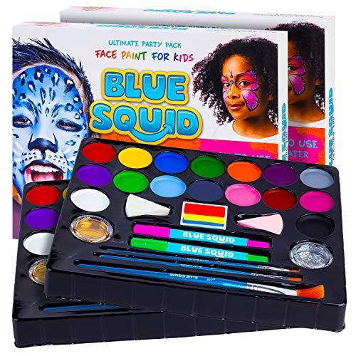 Kinderschminke Set Party Set von Blue Squid 49 teiliges 16-Farben für lebendige Körperbemalungen Haarkreide-Stifte, Gems, Schablonen, Glitzer Schminke, professionelles Pinsel Set, (2 Pack)