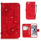 iPhone 6s Case, KKEIKO� iPhone 6 / iPhone 6s Wallet Case [with Free Screen Protector], Premium Flip Leather Case and Cover with Bling Rhinestone, Shockproof Bumper Cover Case for Apple iPhone 6 / iPhone 6s (Red)