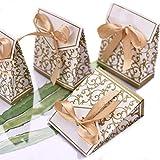 LONGBLE 50 Stück Papier Geschenkbox klein mit Band Gold Geschenktüten Süßigkeiten Kasten Hochzeit Gastgeschenk Box mit Schleife Pappe Bonbons für Weihnachten Hochzeiten Party Babytaufen