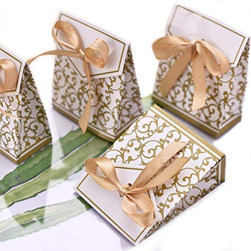 LONGBLE 50 Stück Papier Geschenkbox klein mit Band Gold Geschenktüten Süßigkeiten Kasten Hochzeit Gastgeschenk Box mit Schleife Pappe Bonbons für Weihnachten Hochzeiten Party Babytaufen (Eleganter 50 Geburtstag Einladungen)