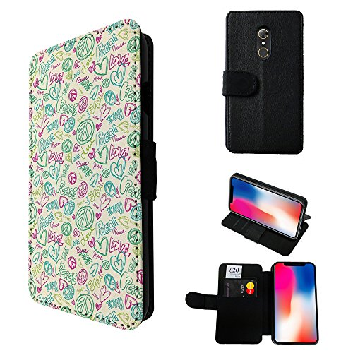 002896 - Love Peace Hearts Hippie Good Luck Design Alcatel A7 XL 6.0