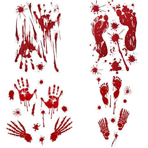LIOOBO 4pcs Halloween Scary Wall Pasten Blut Handabdruck Wall Blood Pumpkin Footprint Aufkleber Terror Door Pasten Halloween Poster