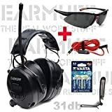 "Ear Defender original BLACK SERIES ""EARMUFF"" Digital AM FM MP3 / Smart phone Radio HEADPHONES Hearing PROTECTOR Ear Muffs with 4x AA batteries + safety glass + belt clip + microphone cable included"