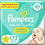 Pampers New Baby-Dry Diapers, Size 1, Newborn, 2-5kg, Giant Box, 172 Count