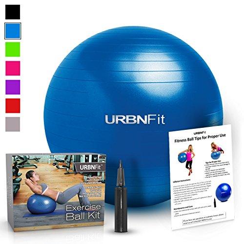 Urbnfit Ballon de gym de 55 cm pour yoga et travail de la stabilité – Guide d'entraînement inclus [Français non garanti] 55 cm bleu