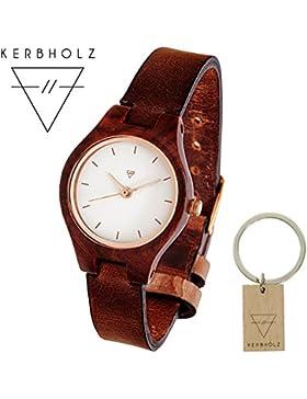 KERBHOLZ® Adelheid | handgefertigte Armbanduhr aus Edelholz und Echtleder | Exklusives Bundle | mit KERBHOLZ®...