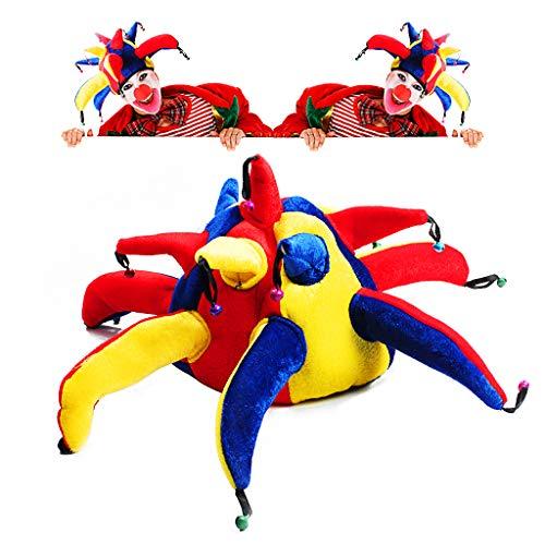 OWUDE Funny Clown Kostüm Hut, Multicolor Jester Cap mit Roten Joker Nase Bells für Halloween und Kostümfest Make-up Zubehör Requisiten