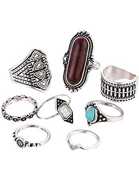 FEITONG 8PCS Retro Ringe Frauen Boho Kristall Blume Knuckle Ring Tibetischen Stil Ringe (8pcs, Silber)