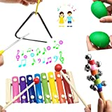 Musical Percussion Instrument Set 17 PCS Baby Music Band Education Percussion Toys for Toddlers Kids Preschool Children with Kids Zipper Handbag