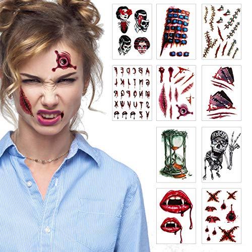 ANPHSIN 10 Blatt Halloween Tattoos, Halloween Narben Tattoo, Halloween Tattoo Aufkleber, Temporäre Tattoos, Tattoo Körperkunst mit Zombie Narben Wunden Blut Tattoos für Halloween Party Kostüm Cosplay