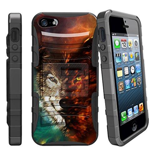 Fall für iPhone SE, 5S 5SE | iPhone 5/5S/SE Fall [Clip Armor] stoßfest Hybrid Schutzhülle w/Ständer + Bonus Gürtelclip-Rot Schwarz Drachen, Galaxy Wolf