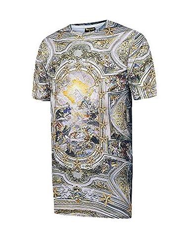 Pizoff Unisex Digital Print Plage de vacances T-shirts avec fresques de la chapelle baroque
