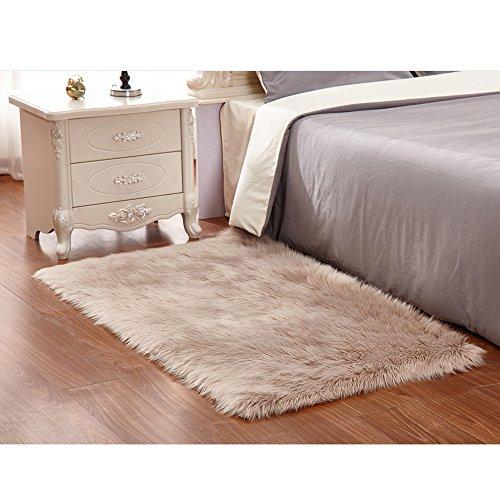 Faux Lammfell Schaffell Teppich 50 x 150 cm Flauschig Weiche Nachahmung Wolle Teppich Longhair Fell Optik Gemütliches Schaffell Bettvorleger Sofa Matte (Braun)