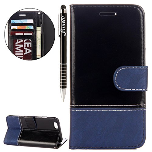 iPhone 6 Plus Custodia, iPhone 6S Plus Cover Wallet, SainCat Custodia in Pelle Cover per iPhone 6/6S Plus, Anti-Scratch Protettiva Caso Elegante Creativa Dipinto Pattern Design PU Leather Flip Portafo Nero + Blu