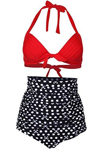 SPRING FEVER Damen Bikini-Set Gr. X-Large, E-Red Black Skull (Peplum Cap)
