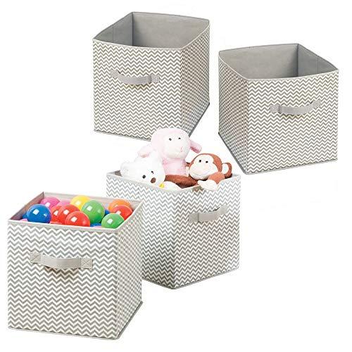 mDesign Juego de 4 Cajas para organizar juguetes - Caja de tela para artículos de bebé y niños - Organizador de tela para mantas, ropa o juguetes - gris topo/natural