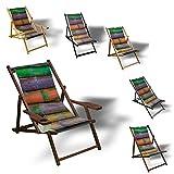 Printalio Bambus Bunt - Liegestuhl Bedruckt Balkon Garten Sonnenliege Relax Holz Terrasse | mit Armlehne, Dunkelbraun