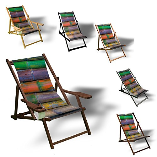 Printalio - Bambus bunt - Liegestuhl Bedruckt Balkon Garten Sonnenliege Relax Holz Terrasse | mit Armlehne, Dunkelbraun -
