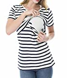 Multitrust Women Short Sleeve Double Layer Nursing Tops Shirts for Breastfeeding Maternity Nursing Shirts Blouse
