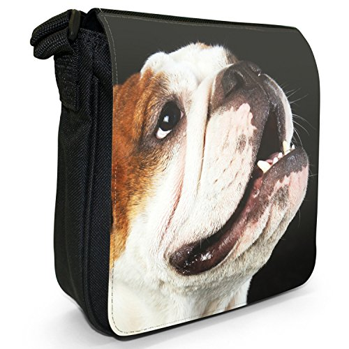 English Bulldog-Borsa a spalla piccola di tela, colore: nero, taglia: S Nero (British Bulldog Looking Up)