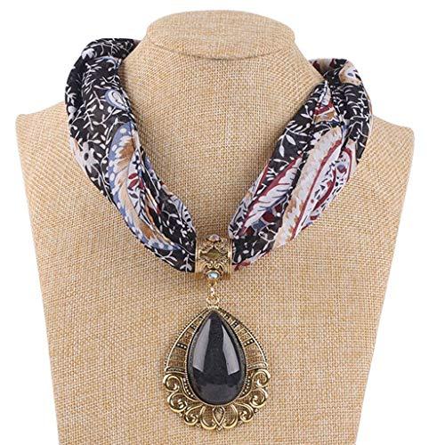 LoveLeiter Damen Schal Halskette Damen Einzigartig Anhänger Schals Infinity-Schal Schmuck Zubehörteil Jahrgang Ethnisch Halskette