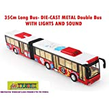Toy-Station - Die CAST Metal Play Set - Perfect Toy Set For Kids (35 Cms Long Bus - Die-CAST Metal -with Lights & Sound - RED)