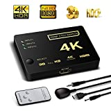 Switch HDMI Soporte HDCP 1080P Mini 3 en 1 Out inteligente 4 puertos 4 K HDMI Audio Switcher Selector Splitter Amplificador Adaptador con mando a distancia IR compatible con 4 K Ultra HD Resolución para Mac PC Xbox TV negro 3 in 1 HDMI switch with a IR remote
