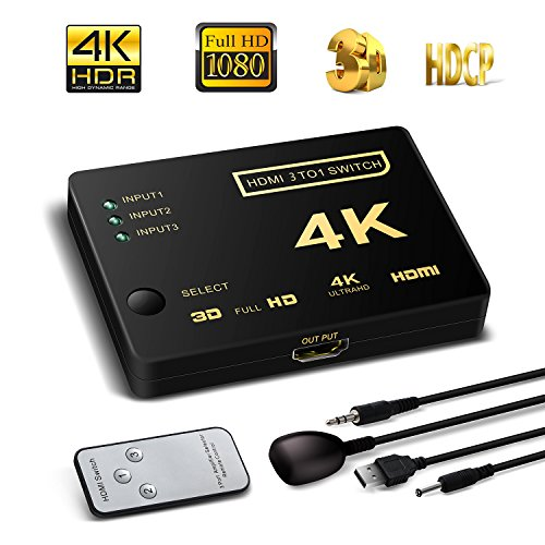 Optic Hdmi Extender (HDMI Switch unterstützt HDCP 1080p Mini 3 in 1 Out Intelligente 4 Port 4 K HDMI Audio Switcher Selector Splitter Verstärker Adapter mit IR-Fernbedienung Kompatibel mit 4 K Ultra HD Auflösung für Mac PCs Xbox TVS schwarz 3 in 1 HDMI switch with a IR remote)
