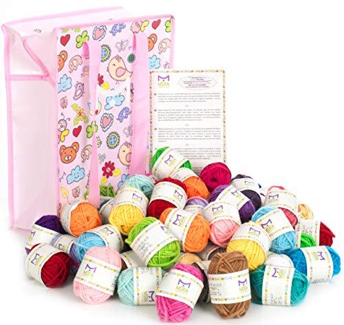 60 pelotes de laine artisanale bonbon Mira pour crochet et tricot - Kit de démarrage de laine artisanale