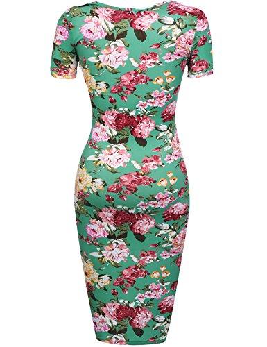 HOTOUCH Damen Etuikleid Vintage Kleid Cocktailkleid Midikleid Bleistift Kleid Rockabilly Kleid Festliche Bodycon Enges Kleid Mit Blumendruck Typ1-Grün