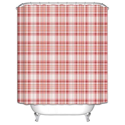 MaxAst Duschvorhang 3D Rot Bad Vorhang Gitter Karo Duschvorhang Waschbar Duschvorhang Polyester Duschvorhang 180x200 cm (Rot Gitter, Vorhänge)