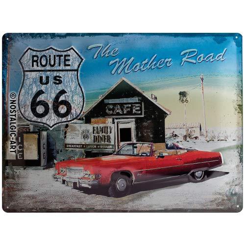 Nostalgic-Art 20371 US Highways - Route 66 The Mother Road, Blechschild 30x40 cm